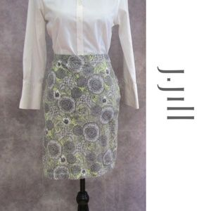 J. Jill Green Black White Floral Summer Skirt Sz M